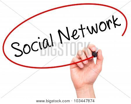 Man Hand writing Social network with black marker on visual screen.