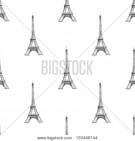 Seamless Background Texture. Paris France Eiffel Tower On The Wh