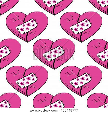 Seamless Pattern  Broken And Patched Heart