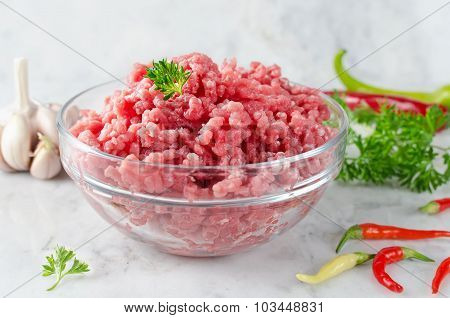Raw Ground Beef And Ingredients
