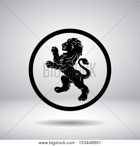 Heraldry Of A Lion In A Circle