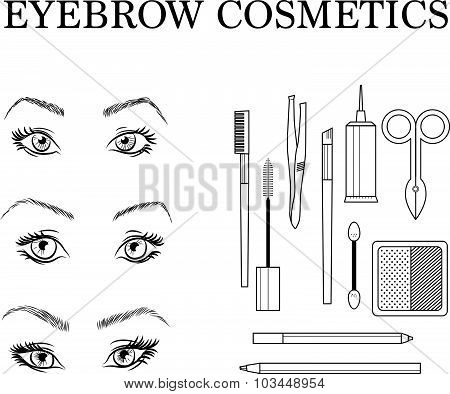 Eyebrow make up set on white background.