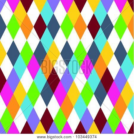 Vector abstract bright colored geometric background. Rhombus repeating bright colored pattern good f