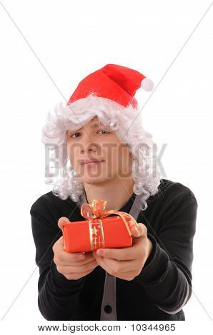 Teenager In A Hat Santa