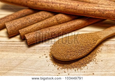 Cinnamon sticks and wooden spoon