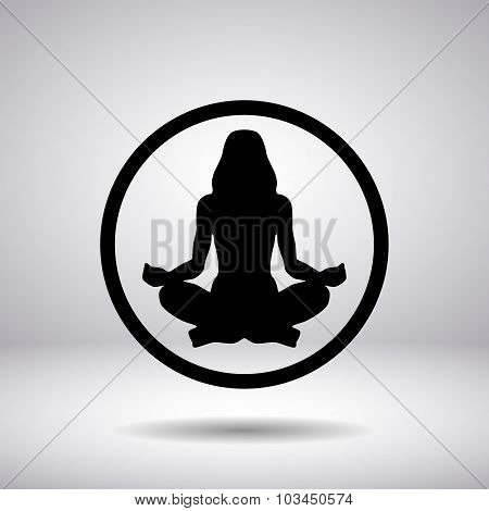 The Woman Silhouette In A Circle - Yoga