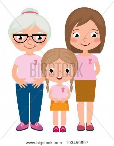 Three Generations Of Women Wearing Pink Shirt And Ribbons For Breast Cancer