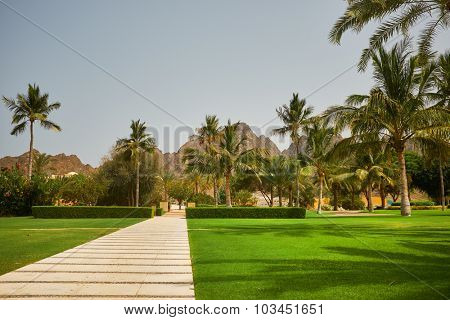 Way to beach in tropical resort.