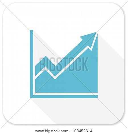 histogram blue flat icon