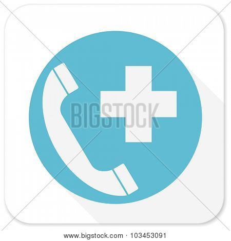 emergency call blue flat icon