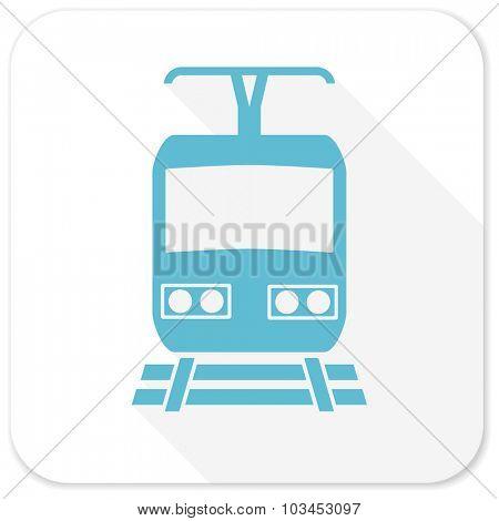 train blue flat icon