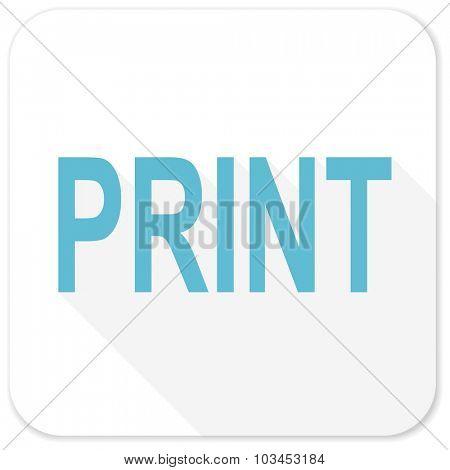 print blue flat icon
