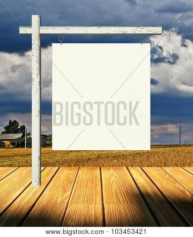 3D Empty Billboard Frame On Stage