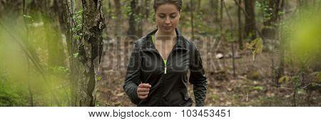 Jog Girl Running In Forest