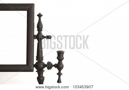part of ancient wood mirror with candle holders