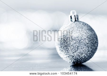 Close-up of beautiful silver glitter christmas decorative ball