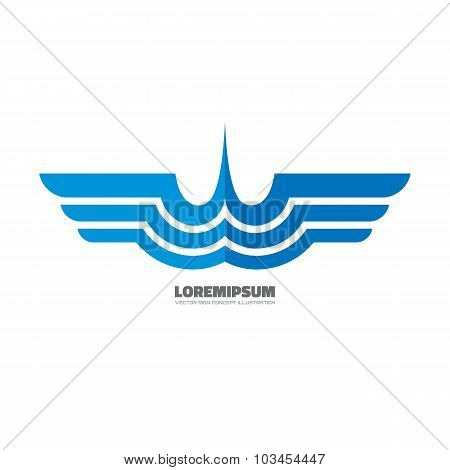 Blue wings - vector logo concept illustration. Airplane logo. Aircraft logo. Transport logo.