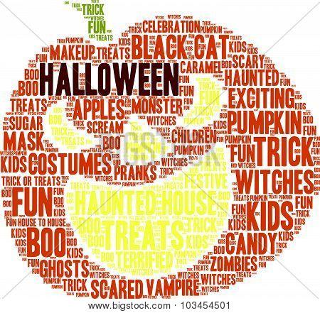 Halloween Pumpkin Shaped Word Cloud