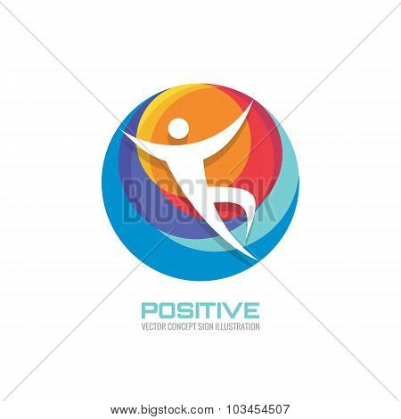 Human in colored circle - creative logo sign for sport club, health center, music festival etc.