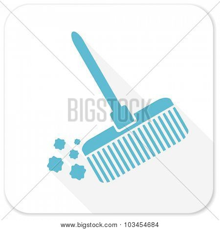 broom blue flat icon