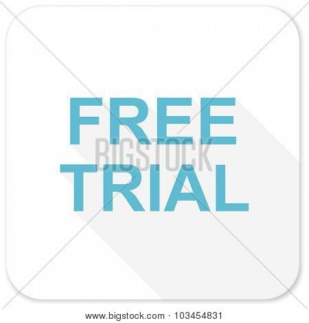 free trial blue flat icon
