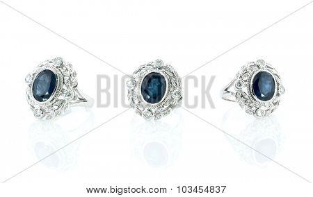 Diamond ring isolated on white background.