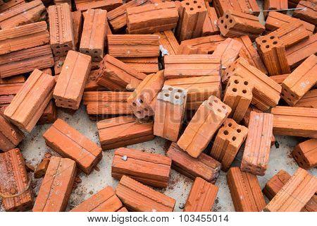 Stack of red bricks background