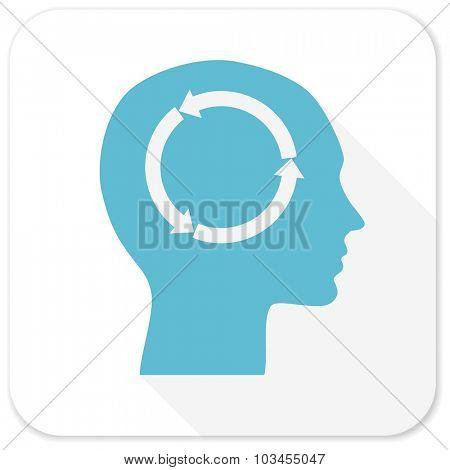 head blue flat icon