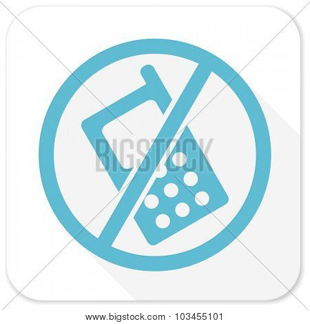no phone blue flat icon