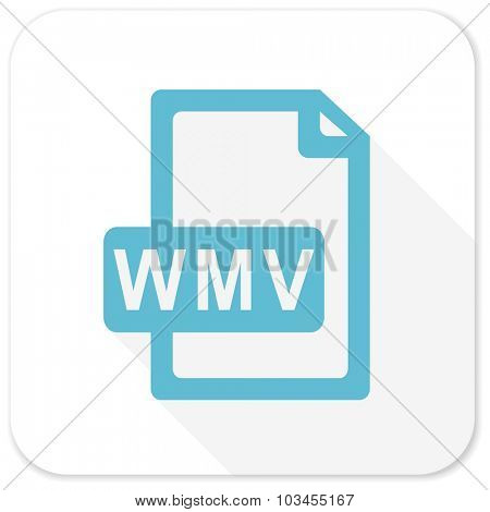 wmv file blue flat icon