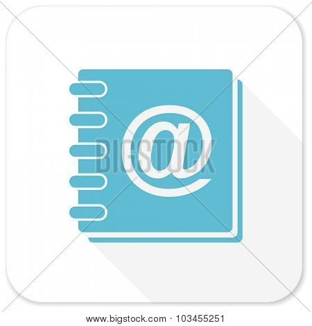 address book blue flat icon
