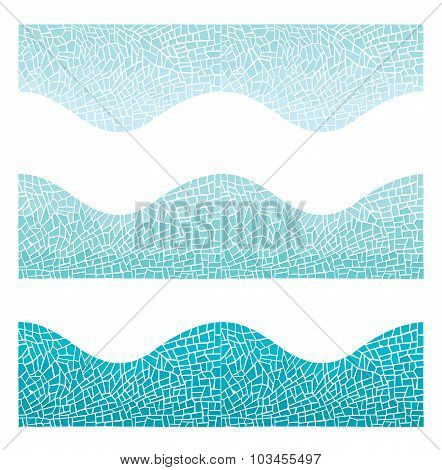 Seamless Background Wave Mosaic Of Blue Color