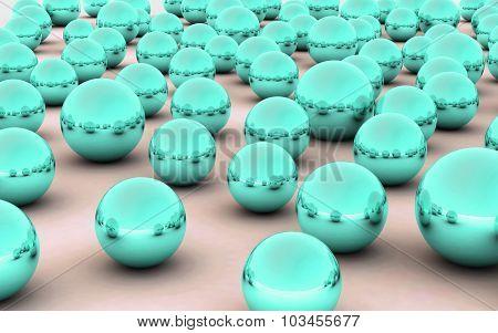 3D Ball Sea Green Metal Reflection