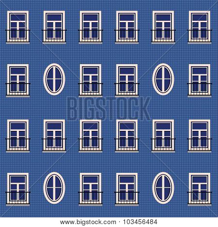 Seamless Background Wall Of The House And Windows