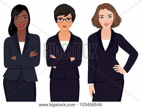 Team Multi Ethnic Womans Businessmen  In A Suit