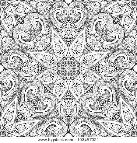 Vector Seamless Monochrome Ornate Pattern