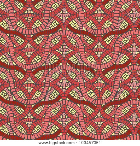 Seamless Colored Background Wall Of Weave Mosaic.