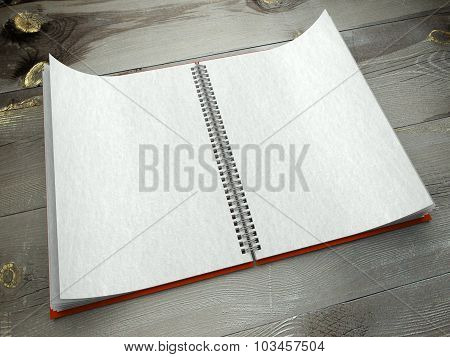 3D Open Blank Notebook On Table Papet Texture