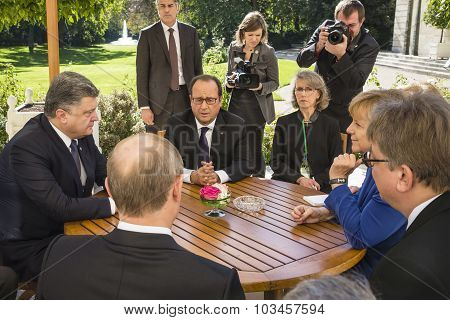 Merkel, Putin, Poroshenko And Hollande