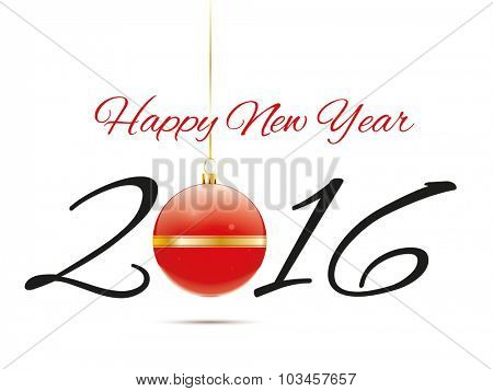 Greeting Card For A Happy New Year 2016 With Red Christmas Bauble Vector Illustration