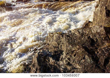Stormy Water Waterfall Kivakkakoski. Republic Of Karelia. Russia