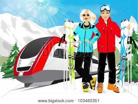 happy couple skiers in mountain resort