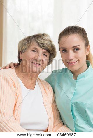 Female Retiree And Nurse