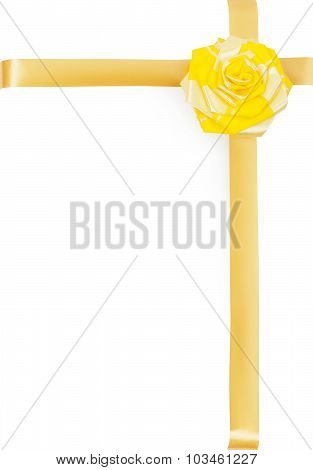 Yellow Bow-knot And Ribbon As A Decoration For A Gift