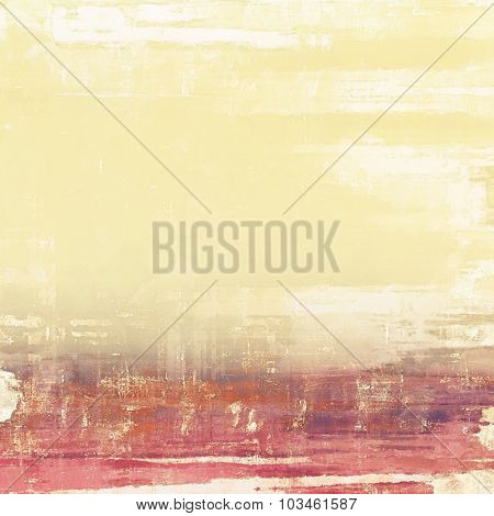 Grunge texture with decorative elements and different color patterns: yellow (beige); brown; purple (violet); pink
