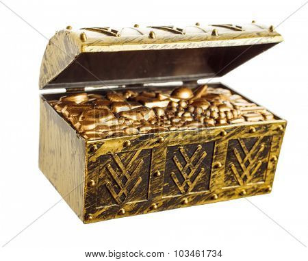 Open treasure chest with shinny gold isolated