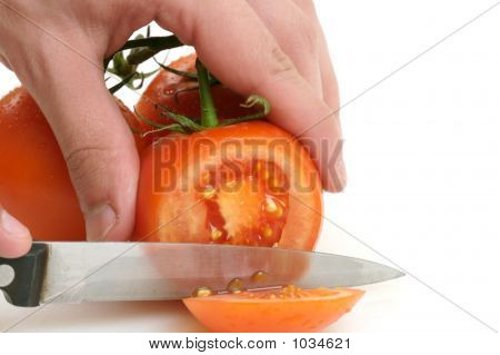 Tomatoes Being Cut