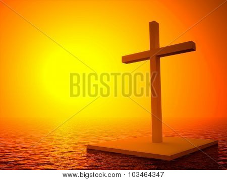 3D Cross And Sunset, Symbol Of Death In Sea