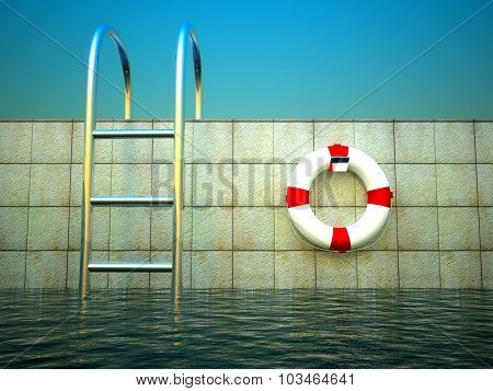 3D Life Ring And Empty Billboard On Safety Barriers At Sea