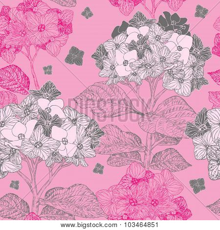 Seamless Pattern With Hydrangea Flowers